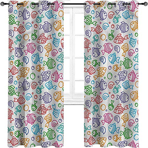 UNOSEKS LANZON Blackout Draperies Kids, Doodle Fish Happy Aquarium Room Divider Curtains Easy to Put Up and Take Down for Cleaning (2 Panels, W42 x L96 Inch)