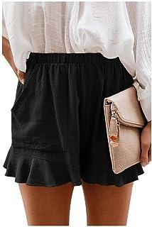 Winwinus Womens Casual Loose Beach with Pockets Wide Leg Shorts