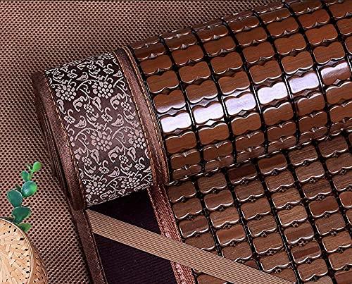YXZN Colchón de enfriamiento de bambú Plegable, Alfombrilla de bambú Mahjong carbonizada y Transpirable, Almohadilla para Dormir de Verano Suave, para Dormitorio, Cama Doble, Estudiante
