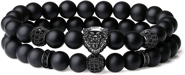 Under blast sales COAI 2PCS Lion Soldering Stone Men Women Bracelets for