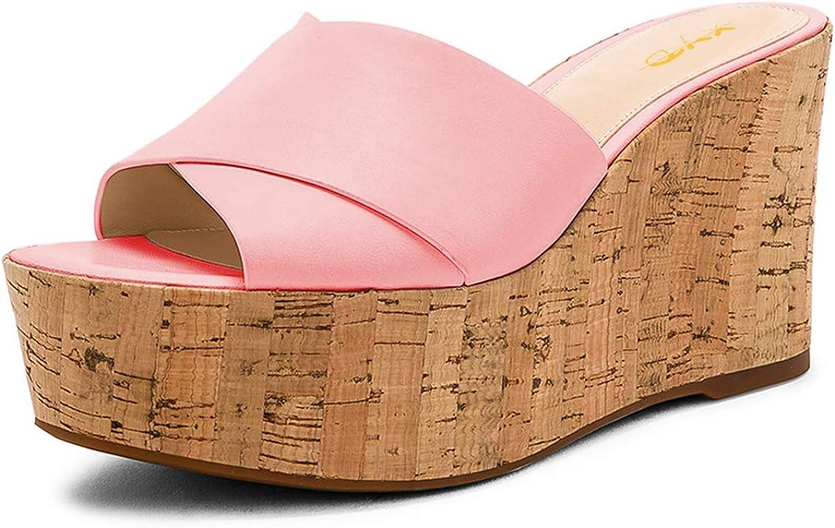 XYD Women Crisscross Strap Wedge Slide Sandals Slip On Cork Heel Dress Slippers with Platform