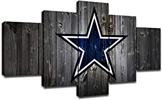 Dallas Cowboys NFL Team Logo Pictures for Wall Art Paintings 5 Piece Canvas Living Room Decor Abstract Artwork House Decoration Poster Prints Framed Ready to Hang(60''Wx32''H)