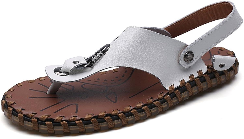 LLPSH Männer Casual Thong Thong Thong Flip Flops Schuhe Aus Echtem Leder Indoor und Outdoor Strand Hausschuhe Rutschfeste Handarbeit Weichen Flachen Sandalen  64ed0c