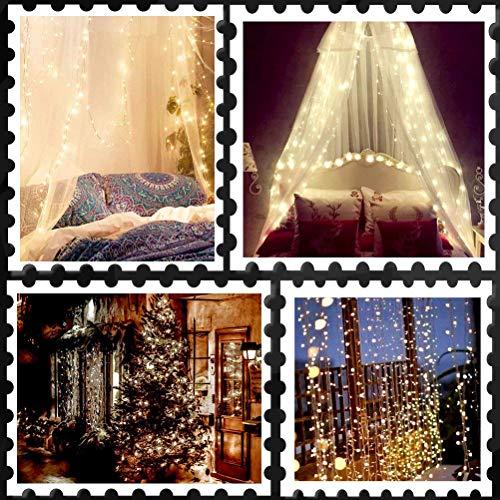 Lichtsnoer gordijn ijspegel-snoer licht 2m x 1m 8 modi 104 LED gordijn licht voor partij start kerstdecoratie (warm wit) Elise