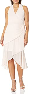 Bebe womens Chiffon Drape Front Dress with V Neck Casual Night Out Dress