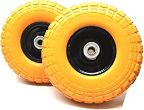 "UI PRO TOOLS Set of 2-10"" Flat Free Tires Wheels with 5/8"" Center - Solid Tire Wheel for Dolly Hand Truck Cart/All Purpose Utility Tire on Wheel"