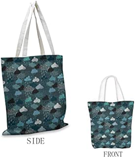 Ladies casual canvas bag Lake House Decor Cloud Sketches with Curly Lines Forecast Atmosphere Sky Kids Nursery Theme Doll bag Teal Blue