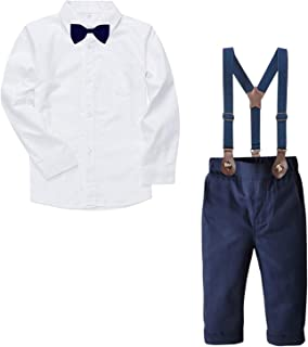 SANGTREE Baby & Little Boy Tuxedo Outfit, Plaids Shirt + Suspender Pants