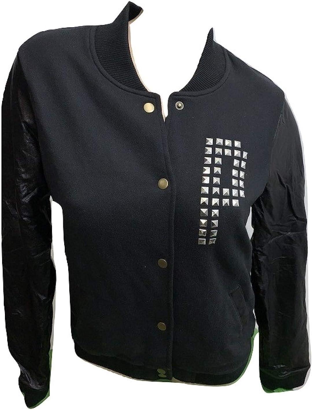 Pink Varsity Jacket Studded Faux Leather Color Black Size Medium NWT