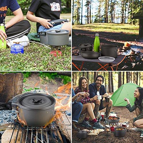 Terra Hiker Set de Utensilios de Cocina de Camping, Antiadherente, Bolsa de Malla con Mochila para Acampadas, Senderismo, Picnic, Pack de 16