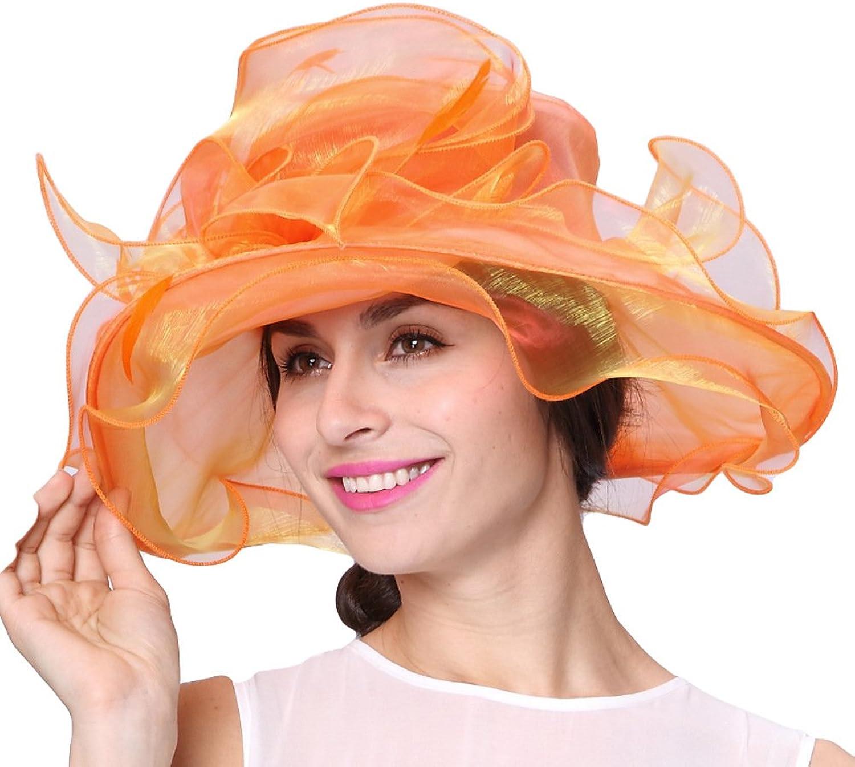 June's Young Women Hats Organza Material Wide Brim Sun Side Hat