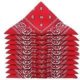 KARL LOVEN Lote de 5 bandanas 100% Algodon Paisley Panuelo Cabeza Cuello Bufanda (Juego de 5, Rojo)