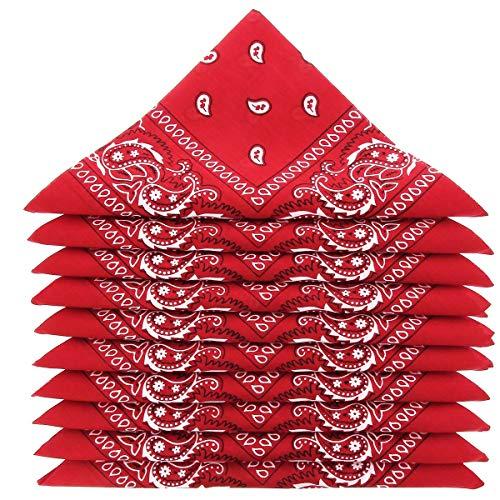 KARL LOVEN Lote de 20 bandanas 100% Algodon Paisley Panuelo Cabeza Cuello Bufanda (Juego de 20, Rojo)