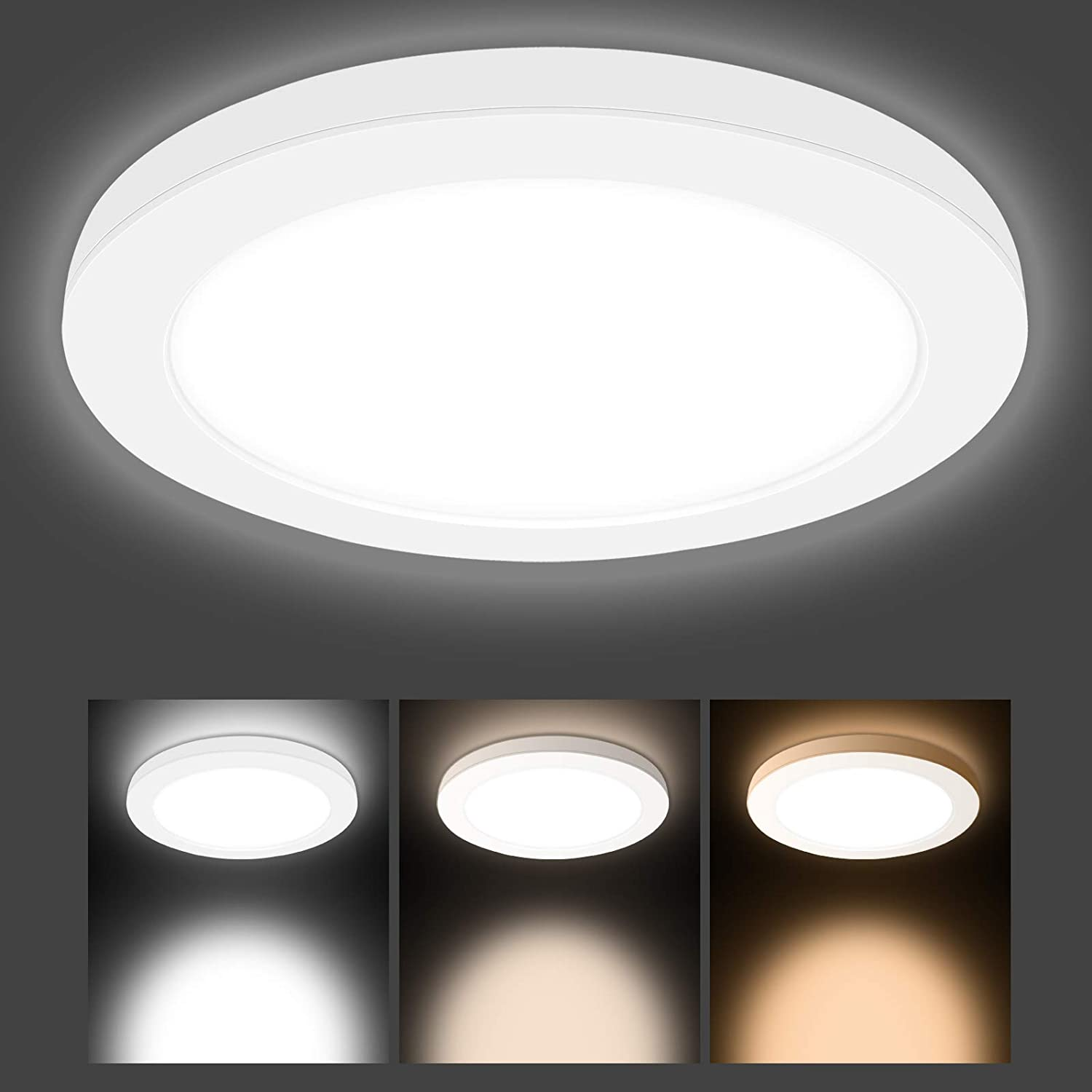 3000k//4000k//6000k 2200LM LED Round Ceiling Lighting 30cm Indoor Ceiling Lamp for Bedroom Kitchen Living Room Hallway Office Stairwell Hidixon 24W LED Surface Mount Ceiling Light