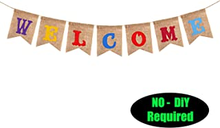 Welcome Party Banner Sign - No DIY Required/for Back to School, First Day of School Classroom Birthday Wedding Baby Shower Bunting House Home Welcome Party Decorations -Real Burlap 080