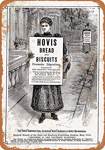 LZLQR Vintage Metal Tin Sign 8 x 12 Inch - 1895 Hovis Bread and Biscuits - Wall Decor