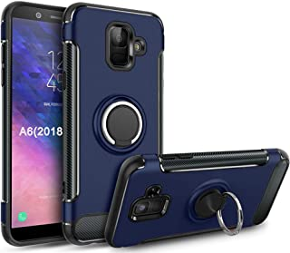 Galaxy A6 2018 Case,GETE 360 Degree Rotating Ring Holder Kickstand Protective Phone Cases Cover for Samsung Galaxy A6 2018 (Blue)