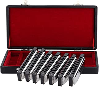 Armónica 10 Holes Harp Blues Harmonica Armónica Diatónica Set 7 Piezas (AG) W / Exquisitos Box + Toallitas de ammoon SWAN