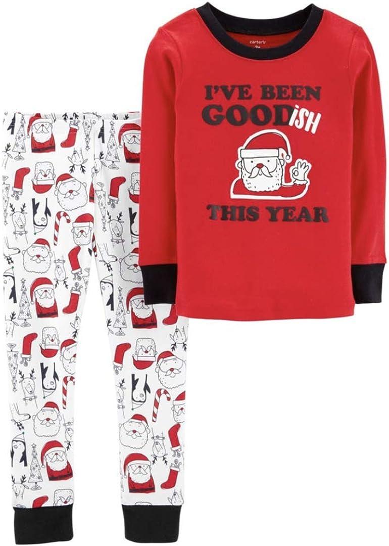Carter's Baby Boy Christmas Top & Bottoms I've Been Godish Snug Fit Pajama Set