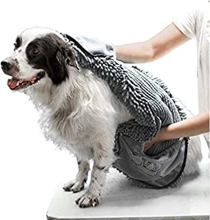 Tuff Pupper Large Dog Shammy Towel | Ultra Absorbent | Durable 35 x 15 Size for Dogs of All Breeds | Quick Drying Chenille | Designed for Indoor and Outdoor Use | Machine Washable