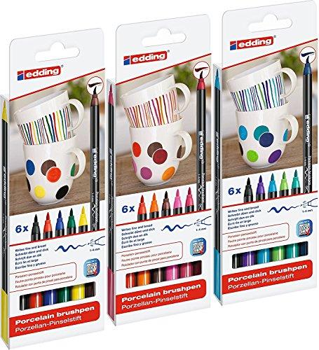 edding 4200 Porzellan-Pinselstift (auch für Glas und Keramik) [ Alle 3 Sortierungen ] Porzellan-Brushpen zum Bemalen und Beschriften von Geschirr, Tassen und ofenfestem Glas