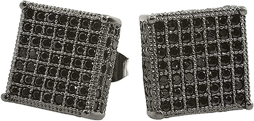Black XL Big Cube Iced Out CZ Micro Pave Earrings