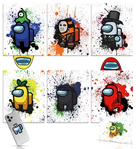 Among Us Gifts Merch Poster Set of 6 (8x10 Inch UNFRAMED) - Free Postal and Phone Case Sticker- Cool Video Game Posters For Boys Room - Great Game Room Wall Decor - Impostor Crewmate - Wall Art Poster - Gamer Merchandise Decoration - Gaming Posters