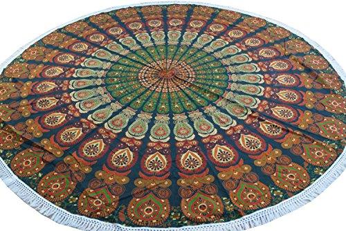 Guru-Shop Rundes Indisches Mandala Tuch, Tagesdecke, Picknickdecke, Stranddecke, Runde Tischdecke - Grün/orange, Baumwolle, Bettüberwurf, Sofa Überwurf
