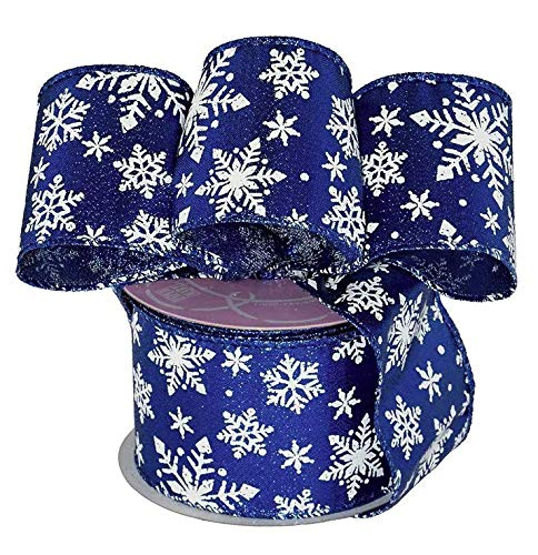 Royal Blue Snowflakes Wired Ribbon - 2 1/2' x 10 Yards, Silver Glitter, White Snowflakes, Christmas Decor, Hanukkah, Holiday Garland, Gifts, Wrapping, Wreaths, Bows, Boxing Day, Gift Basket