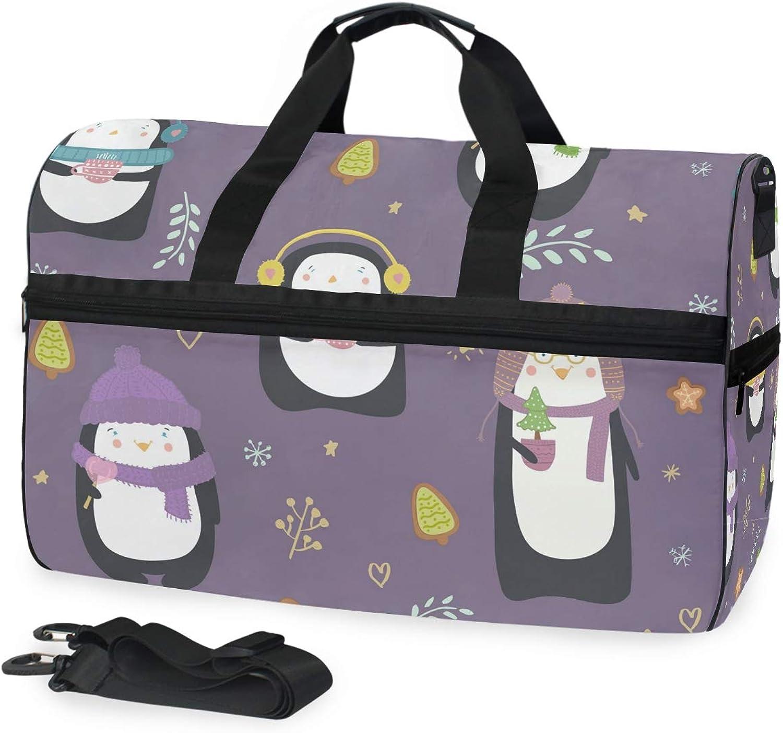 2c854c3c13b3 FANTAZIO Endearing Penguins Sports Duffle Bag Bag Duffel with ...