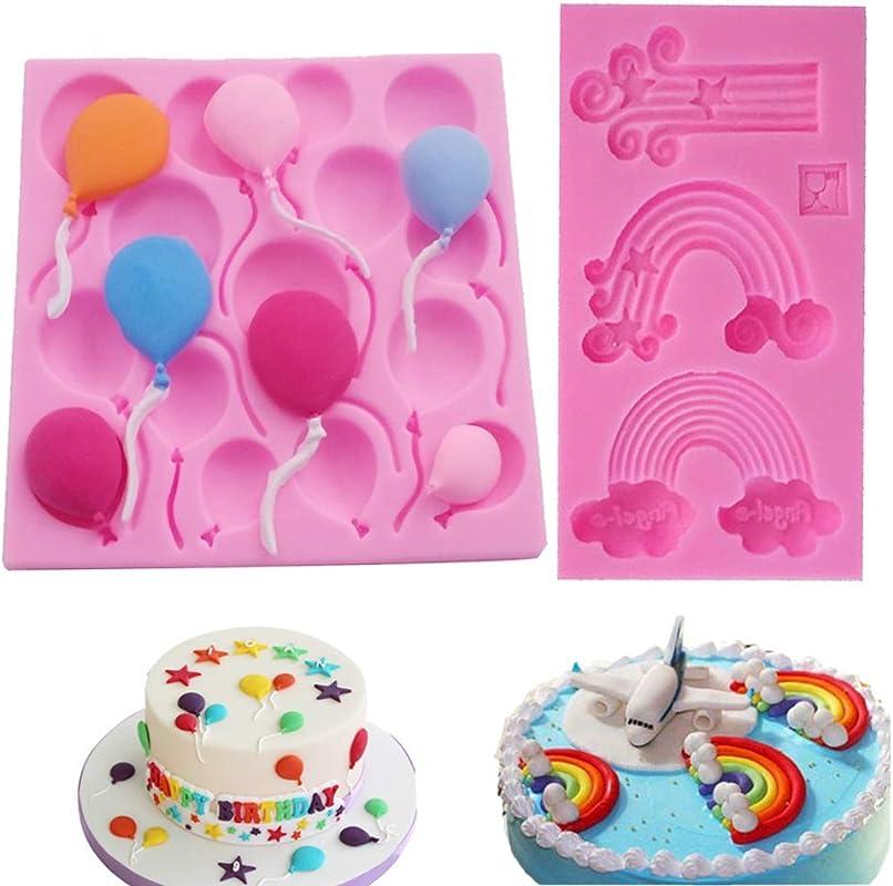 Viivl Balloon Rainbow Series Silicone Fudge Mold Set DIY Cake Decoration Baking Utensils Chocolate Fudge Mold Is Suitable For Cake Border Decoration Cupcake Icing Decoration Jewelry