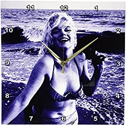 3dRose DPP_107190_2 Marilyn Monroe at The Beach-Wall Clock, 13 by 13-Inch