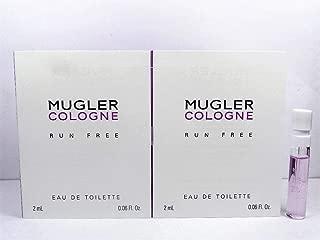 2 Thierry Mugler Cologne RUN FREE Eau De Toilette Spray Sample Vials .06 oz / 2 ml Each UNISEX (LOT OF 2) NEW