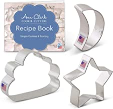 Ann Clark Cookie Cutters 3-Piece Twinkle Little Star and Sweet Dreams Cookie Cutter Set with Recipe Booklet, Star, Moon & Cloud