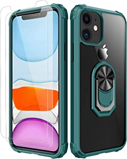 iPhone 11 Case,[ Military Grade ] with [ Glass Screen Protector] 15ft. Drop Tested Protective Case | Kickstand | Compatible with Apple iPhone 11 Case 6.1 Inch -Dark Gree