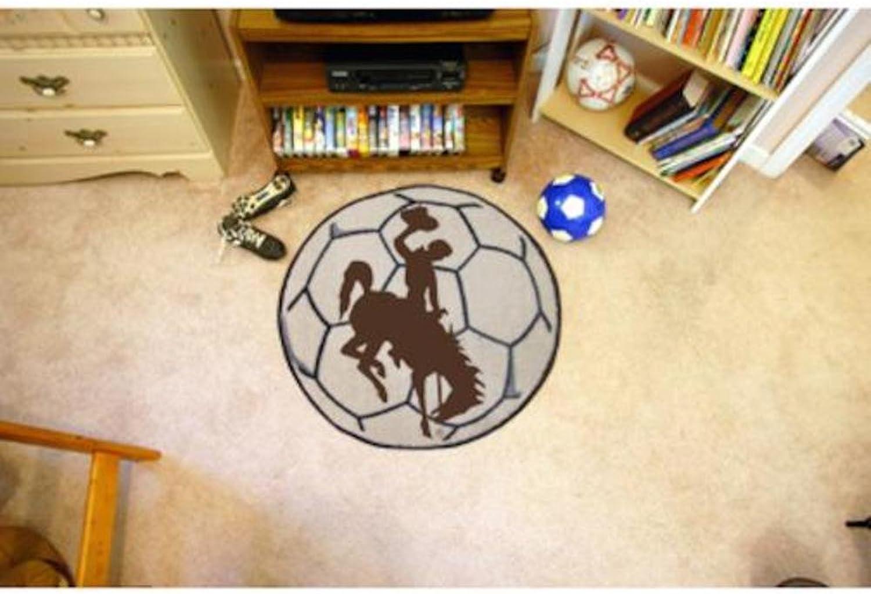 Wyoming Cowboys 29  Round Soccer Ball Floor Mat (Rug)