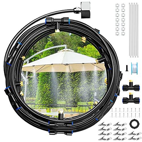 """Tikola 10M Sistema de Enfriamiento Nebulización, Nebulizador Terrazas Anti-UV, 10 Boquillas de Latón, Adaptador de Tubo de 3/4"""" DIY Nebulizador Jardin, Trampolín,Iinvernadero, Sombrilla"""