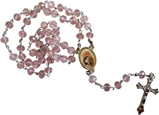 Saint Rita Patron of Abused Women and Marriage Difficulties Santa Rita Rose Quartz Faceted Rondelle 8mm Beads Rosary with Silver Plated Medal Centerpiece and Crucifix Includes a Prayer Card