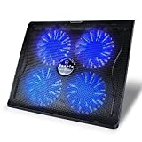 Vanble VA-1 15.6'-17.3' 4 Fans Dual USB Port Portable Laptop Cooling Pad with Blue LED Fans and Adjustable Height Setting, Black