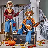 Animated Motion/Sound Activated Musical Multi-Lingual Banjo Skeletons Duo Halloween Fall Indoor Decor