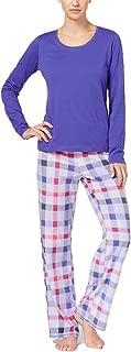 2 Piece Fleece Pajama Set (Purple Plaid, Medium)