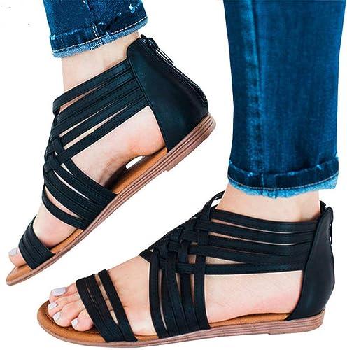 Rouge LIU Femmes Sandales Plus La Taille Zip Gladiateur Sandales Chaussures Femme été Talons Bas Sandales Peep Toe Chaussures De Plage Appartements