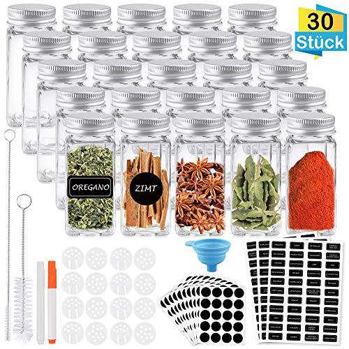 FHzytg 30 Stück Gläser Aufbewahrung Gewurz, 120ml Gläser für Gewürze, Gewürz Glasbehälter, Gewürzgläser mit Schraubkappe, Gewürzgläser Aufbewahrung mit Shaker, Trichter, Bürste, Etiketten