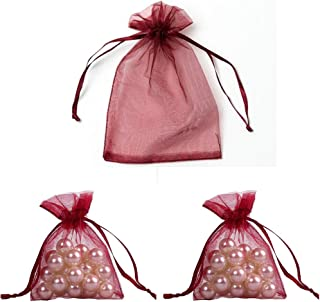 WSERE 100 Pieces Organza Gift Bags Drawstring Packing Bag Wedding Birthday Party Favors Jewelry Mesh Pouches, 3.6×2.8 inches(Burgundy)