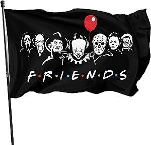 Horror Movie Halloween Friends Garden Flag Outdoor, Durable Halloween Flags 3 x 5 Ft