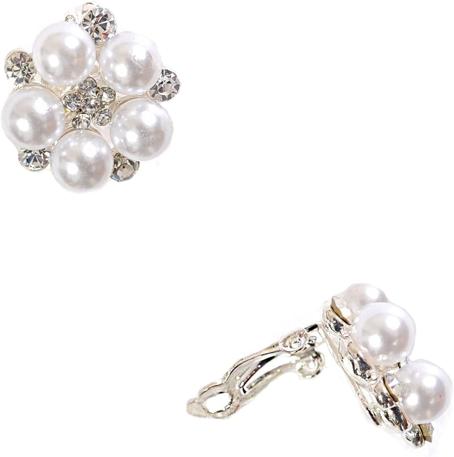 Great interest Silver Crystal While New color Pearl Flower Earrings Clip Shape