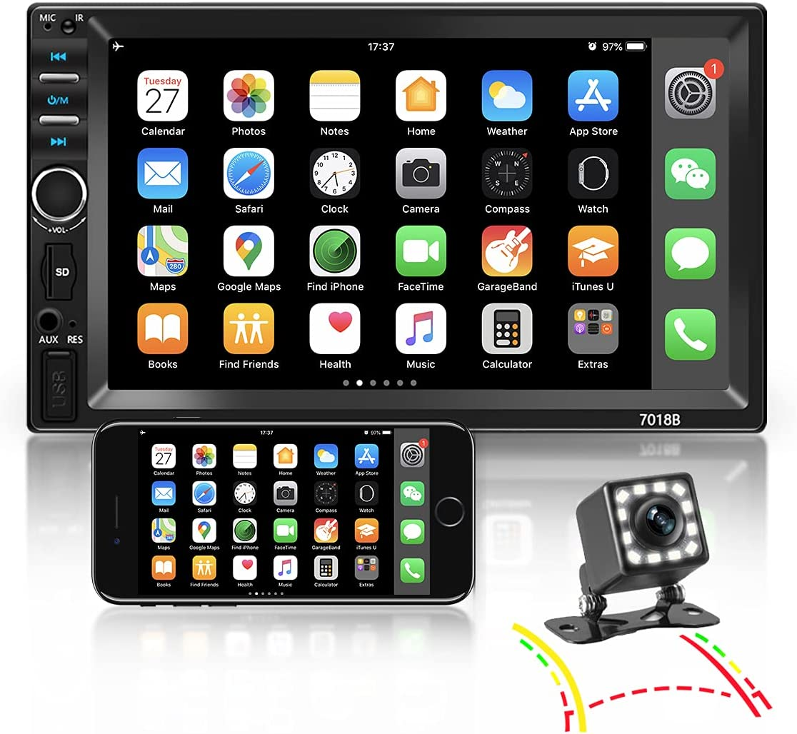 Nhopeew Double Din Car Stereo with and wholesale Backup Max 49% OFF Camera 7 Bluetooth