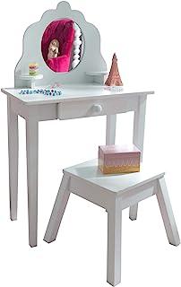 KidKraft Medelstor pall träfrisör och stol med spegel, MDF, vit, en storlek