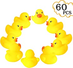 "rainbow yuango Set of 60 1.4"" Mini Yellow Ducks Rubber Bath Toy Pure Natural Cute Rubber Ducky for Baby Kinder Toys"