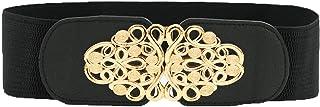 Allegra K Women Wide Elastic Waist Belt Metal Interlock Buckle Retro Cinch